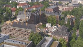 4K Drone aerial TU Dresden lecture hall, Technical University stock footage