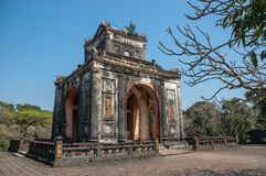Stele pavilion at Tu Duc Royal Tomb, Hue, Vietnam royalty free stock images