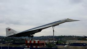 TU-144 in Auto & Technic Museum Sinsheim. The first soviet supersonic civil aircraft Royalty Free Stock Image