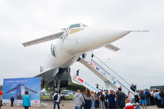 TU-144 International Aerospace Salon MAKS-2013. People stand in a queue to visit TU-144 airplane at International Aerospace Salon MAKS-2013. Taken on August 30 Stock Photography