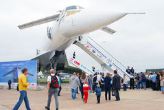 TU-144 International Aerospace Salon MAKS-2013. People stand in a queue to visit TU-144 airplane at International Aerospace Salon MAKS-2013. Taken on August 30 Stock Image
