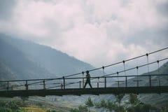 Tu Le wood桥梁, Sapa,越南 免版税库存照片