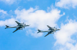 Tu-95MS (Bear) large strategic bombers. On rehearsal of parade devoted to Victory Day on May 7, 2016 in Moscow Stock Image