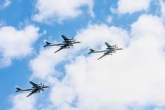 Tu-95MS (Bear) large strategic bombers. On rehearsal of parade devoted to Victory Day on May 7, 2016 in Moscow Stock Images