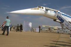Tu-144 no salão de beleza aeroespacial internacional de MAKS Imagens de Stock