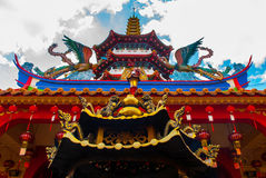 Tua Pek Kong Temple de Mooie Chinese Tempel van de Sibu-stad, Sarawak, Maleisië, Borneo Stock Foto