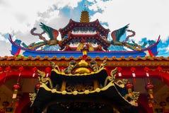 Tua Pek Kong Temple den härliga kinesiska templet av den Sibu staden, Sarawak, Malaysia, Borneo arkivfoto