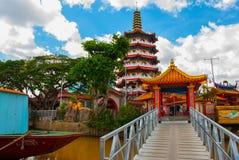 Tua Pek Kong Temple den härliga kinesiska templet av den Sibu staden, Sarawak, Malaysia, Borneo arkivbilder
