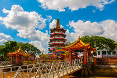 Tua Pek Kong Temple il bello tempio cinese della città di Sibu, Sarawak, Malesia, Borneo immagini stock libere da diritti