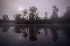 Tualatin flod i morgondimman royaltyfri bild