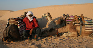 Tuareg. Sahara's man with the camels in a desert Sahara royalty free stock photos