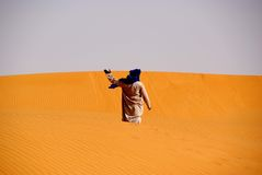 Tuareg in the desert, Libya Stock Photos