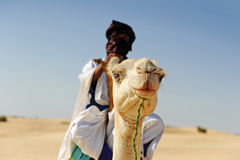 Tuareg with his camel. Near timbuktu Royalty Free Stock Images