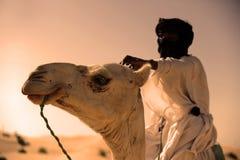 Tuareg met zijn kameel Stock Foto's