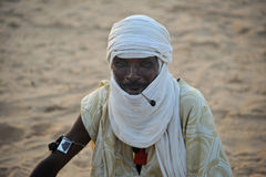 Tuareg posing for a portrait. TIMBUKTU, MALI. Tuareg posing for a portrait in camp near Timbuktu royalty free stock photos
