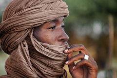 Tuareg posing for a portrait. TIMBUKTU, MALI. Tuareg posing for a portrait in camp near Timbuktu stock photos