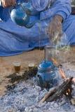 Tuareg tea. A traditional mint tea prepared by touareg in desert Royalty Free Stock Photography