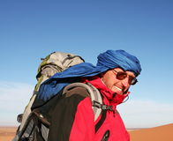Tuareg. Tourist in Sahara desert Stock Photography