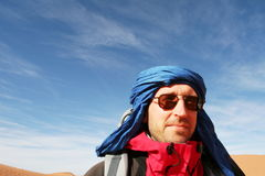 Tuareg. Tourist in Sahara desert Royalty Free Stock Images