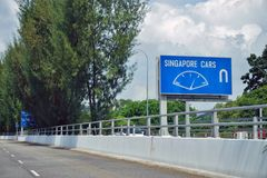 The Tuas Checkpoint border road crossing between Singapore and Johor, Malaysia. Royalty Free Stock Photography
