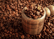 Tub with coffee beans. Tub with roasted coffee beans Stock Photos