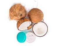 Tub containing coconut oil are used as moisturizer for skin Royalty Free Stock Photo
