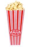 Tub of Popcorn. Isolated white background stock images