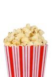 Tub of Popcorn. Isolated white background royalty free stock photos