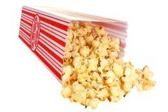 Tub of Popcorn. Isolated white background stock image