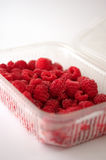 Tub of raspberries. Plastic tub containing frozen raspberries on white background Royalty Free Stock Image