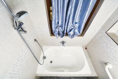 Tub view from above. Bath tub view perspective from above with mosaic wall stock images