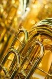 Tuba λεπτομέρειας οργάνων ορείχαλκου Στοκ Εικόνες