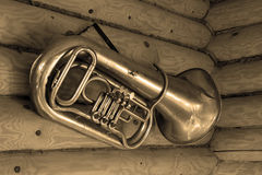 Tuba. Copper wind musical instrument a tuba Royalty Free Stock Image