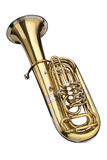 Tuba. Wind instrument. On a whithe background stock images
