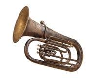 Tuba antique d'isolement avec un chemin de découpage images stock