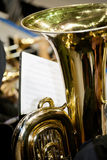 The Tuba in the Band. Detail of a tuba. A beautiful brass instrument played in many types of bands Stock Images