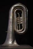 Tuba de prata no preto foto de stock royalty free