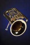 Tuba del Euphonium aislada en azul Imagenes de archivo