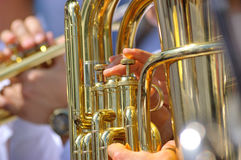 Tuba en banda de metales Foto de archivo