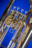 Tuba Euphonium Isolated on Blue Royalty Free Stock Photos