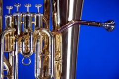 Tuba Euphonium Isolated on Blue Stock Image