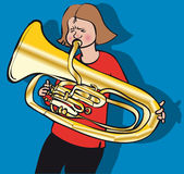 Tuba girl Stock Photos