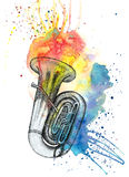 Tuba met waterverfnevels Stock Afbeelding