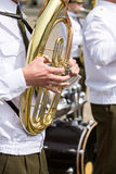 Tuba player in military band Stock Photography