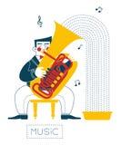 Tuba player Royalty Free Stock Image
