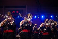 Tuba players from Brass or maching band playing live music durin Stock Image