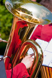 Tuba with reflection. Close-up of a tuba horn with reflections Royalty Free Stock Photography