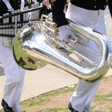 Tuba, US Naval Drum and Bugle Corps. US Naval Drum & Bugle Corps, marching band, music, silver instruments, tuba Stock Photos