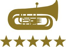 Tuba z pięć złotymi gwiazdami ilustracja wektor