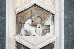 Tubalcain, Florence Cathedral. Tubalcain by Nino Pisano, 1334-36., Relief on Giotto Campanile of Cattedrale di Santa Maria del Fiore Cathedral of Saint Mary of royalty free stock photos
